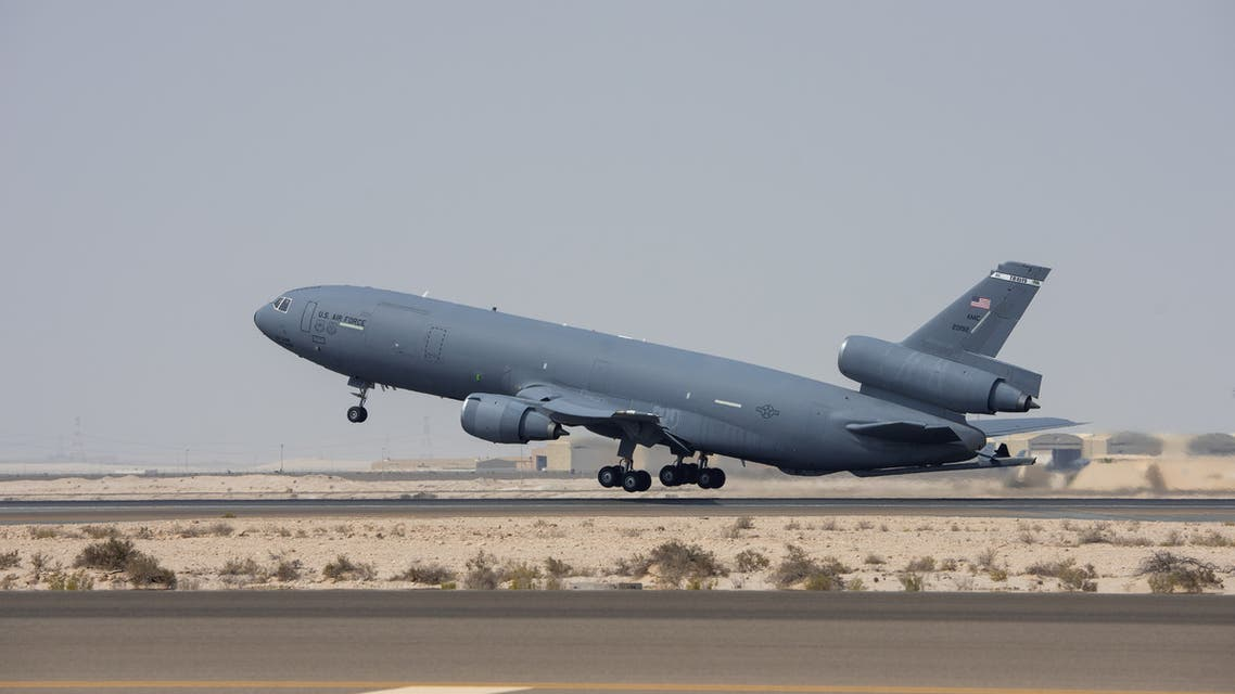 A USAF KC-10 Extender from the 908th Expeditionary Refueling Squadron takes off before Exercise Tri-Lightning, at Al Dhafra Air Base, United Arab Emirates, June 25, 2019. Picture taken June 25, 2019. (Reuters)