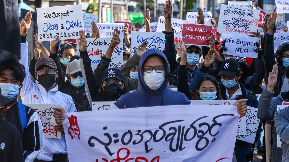 Protesters take part in a demonstration against the military coup during Global Myanmar Spring Revolution Day in Taunggyi, Shan state on May 2, 2021.