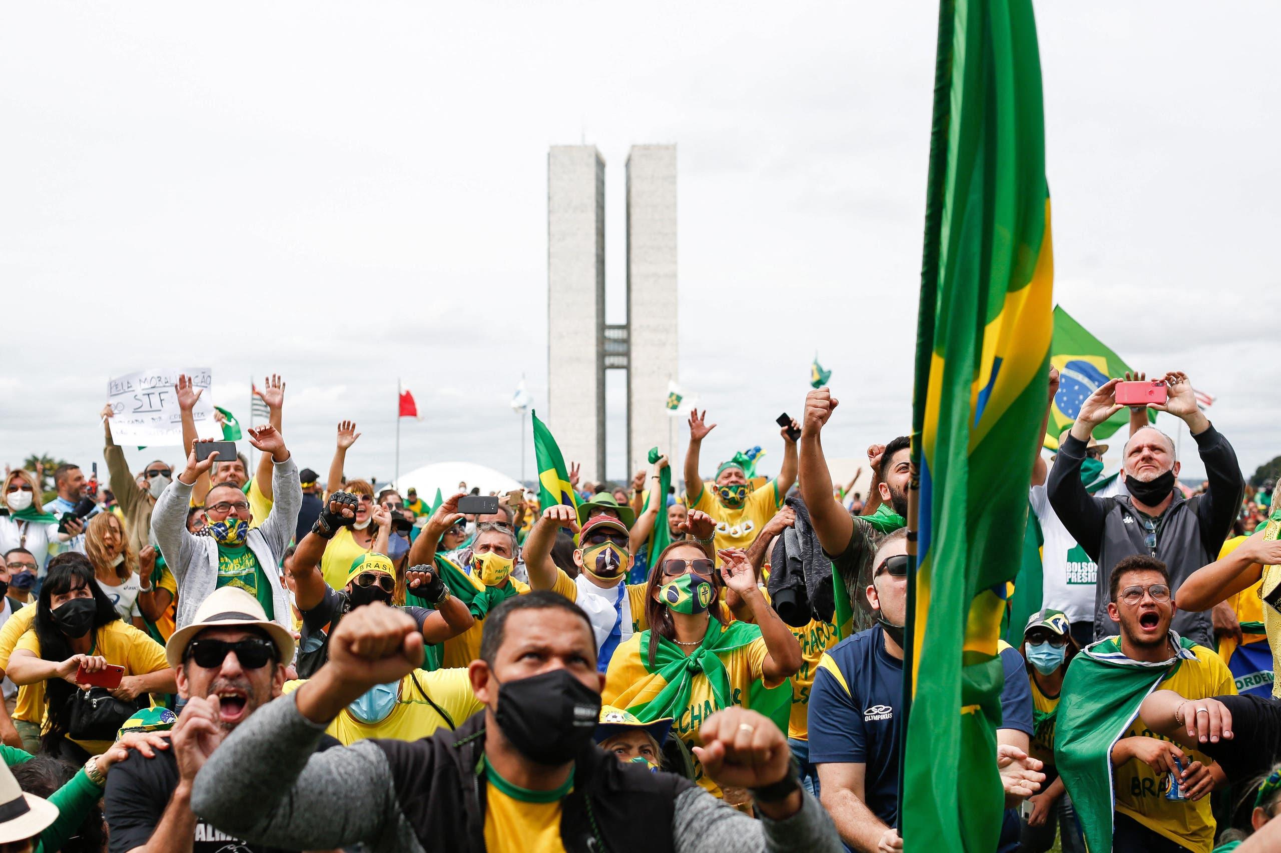 من التجمع المؤيد لبولسونارو في برازيليا