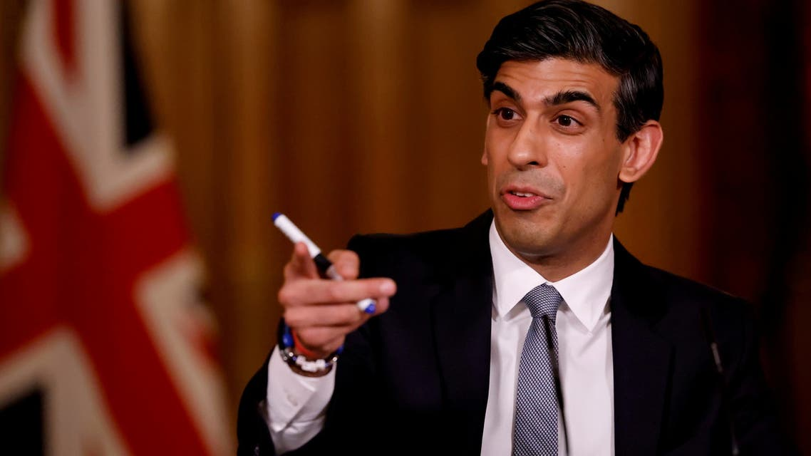 British finance minister Rishi Sunak attends a virtual press conference inside 10 Downing Street in central London, Britain March 3, 2021. (File Photo: Reuters)