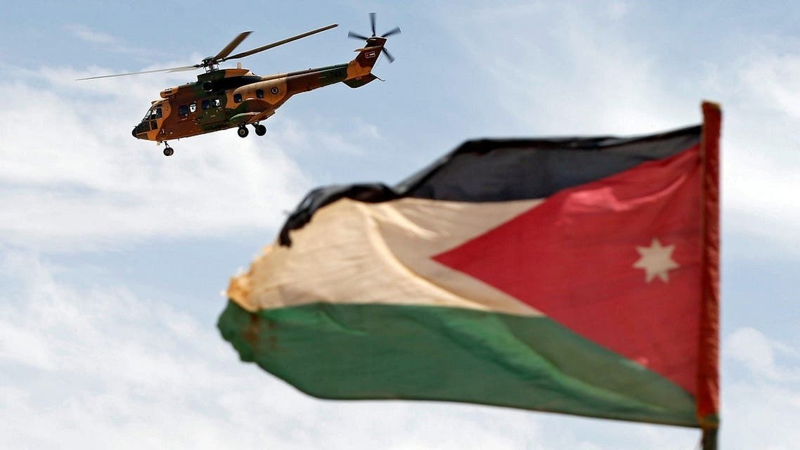 A helicopter is seen next to the Jordanian flag during the Eager Lion military exercise at the Jordan-Saudi Arabia border, south of Amman. (File Photo: Reuters)