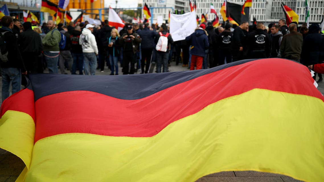 People attend a far-right wing demonstration in Berlin, Germany, October 3, 2019. (Reuters)