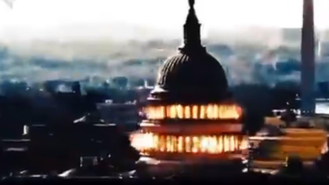 مشهد من فيديو إيراني عن تفجير الكابيتول