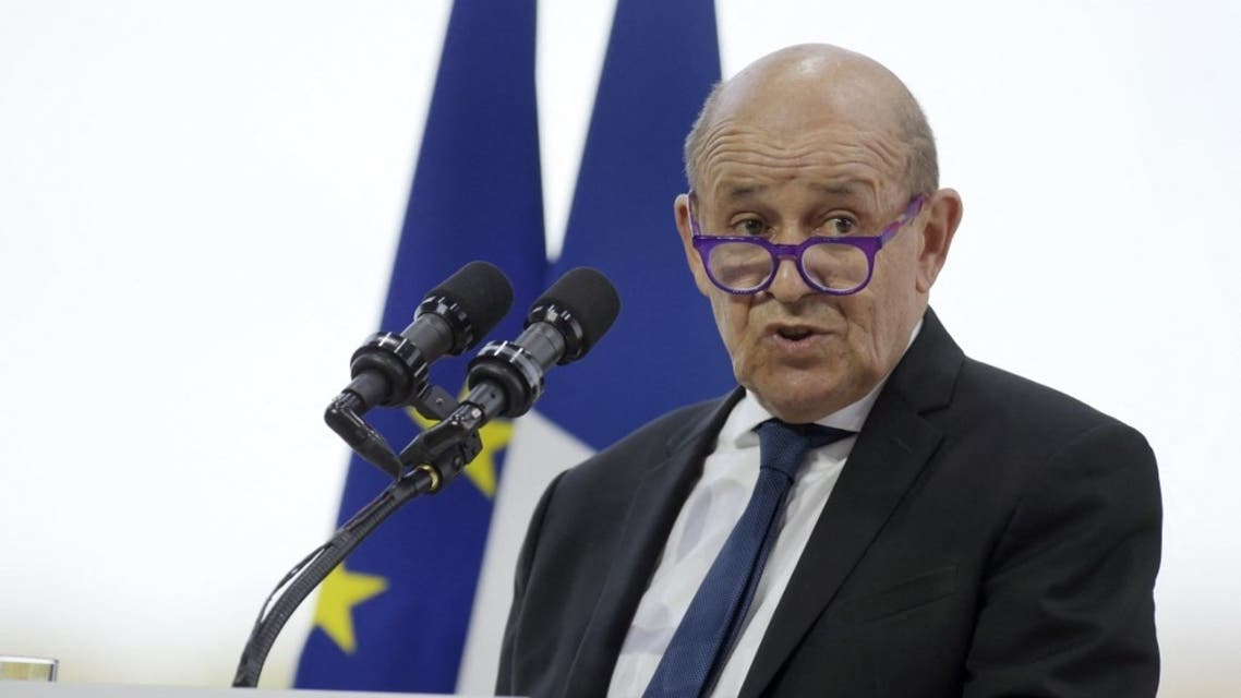 French Foreign Minister Jean-Yves Le Drian attends a session at French employers' association Medef's summer meeting at the Longchamp horse racetrack in Paris on August 26, 2020. (AFP)