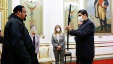 Venezuela's Maduro receives samurai sword gift from actor Steven Seagal