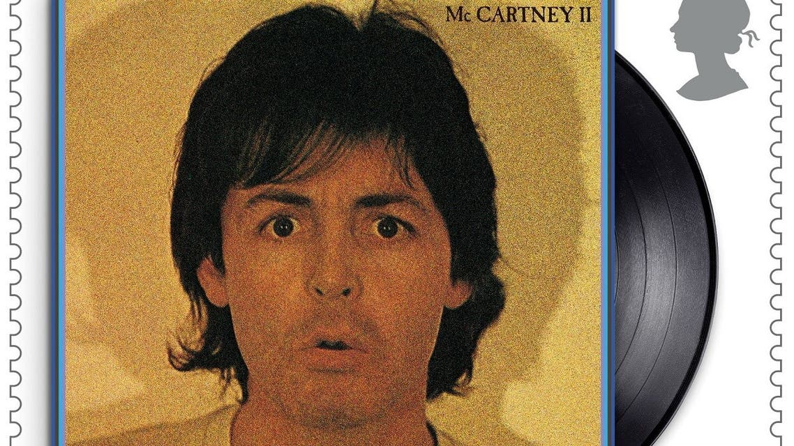 A still of a Royal Mail stamp created in honor of Sir Paul McCartney shows the cover of his studio album McCartney II. (Reuters)
