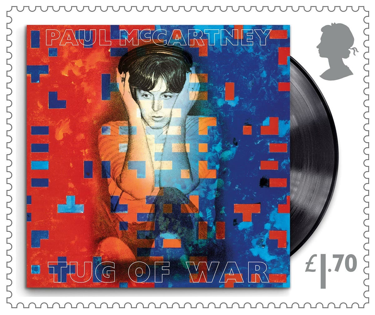 """A still of a Royal Mail stamp created in honor of Sir Paul McCartney shows the cover of his studio album """"Tug of War."""" (Reuters)"""
