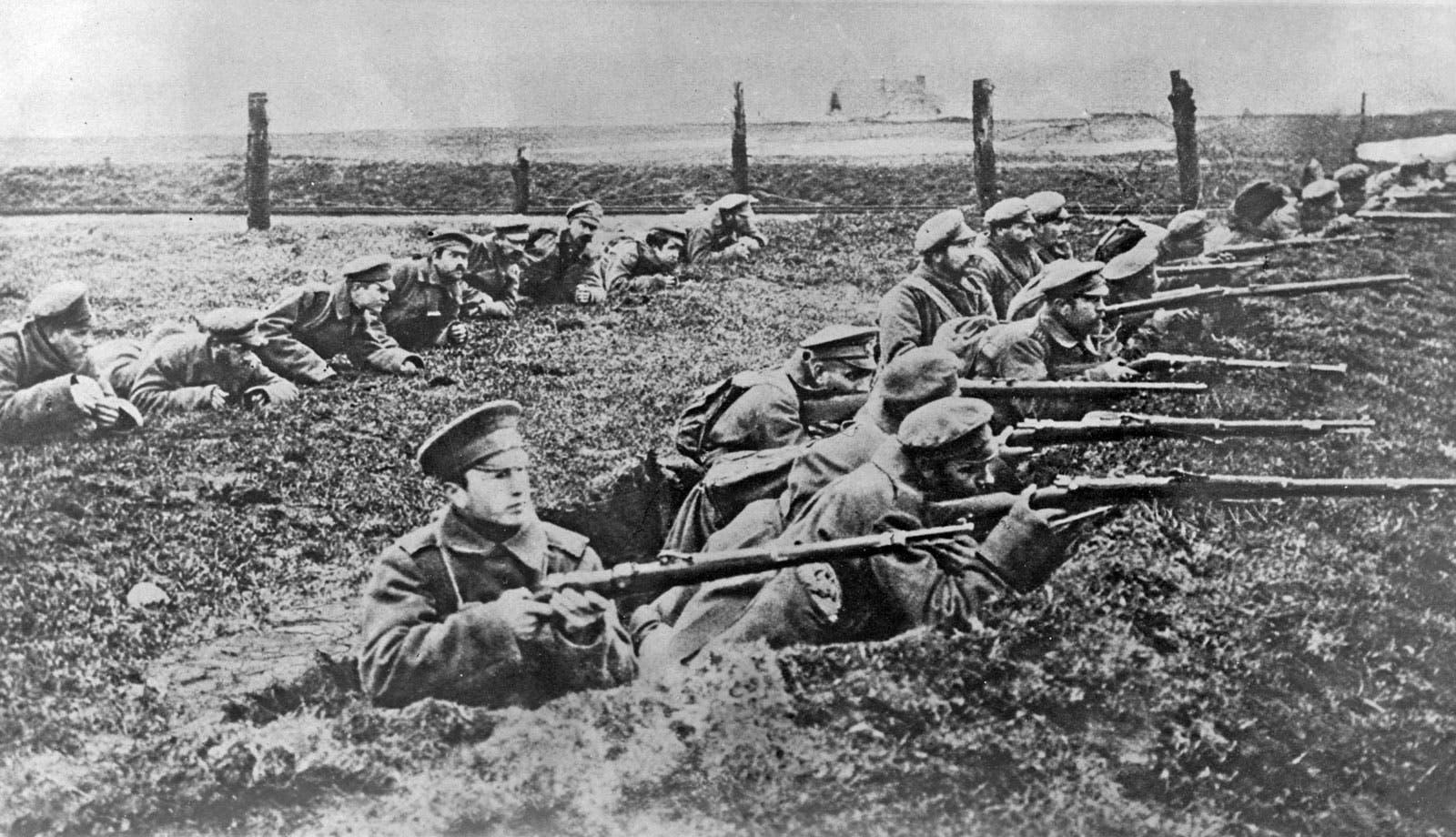 جانب من القوات الروسية المشاركة بالحرب العالمية الأولى