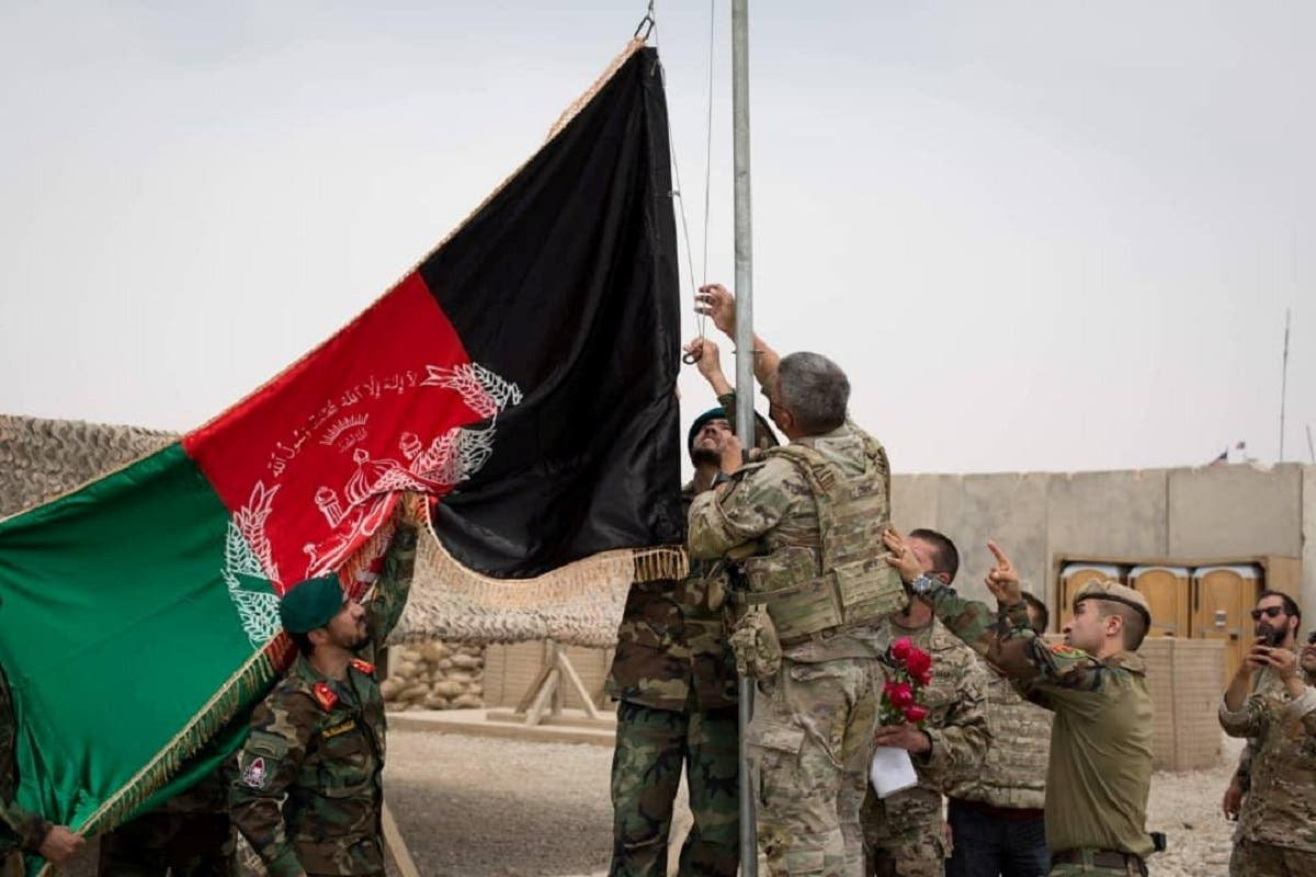 Handover ceremony at Camp Anthonic, from US Army, to Afghan Defense Forces in Helmand province, Afghanistan, on May 2, 2021. (Reuters)