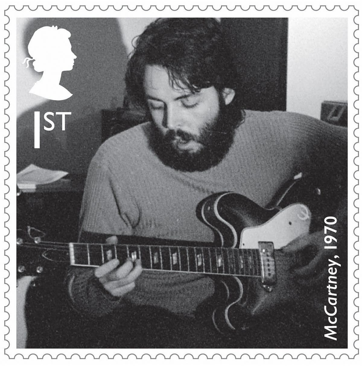 """A still of a Royal Mail stamp created in honor of Sir Paul McCartney shows him in the studio working on the """"McCartney"""" album in 1970. (Reuters)"""