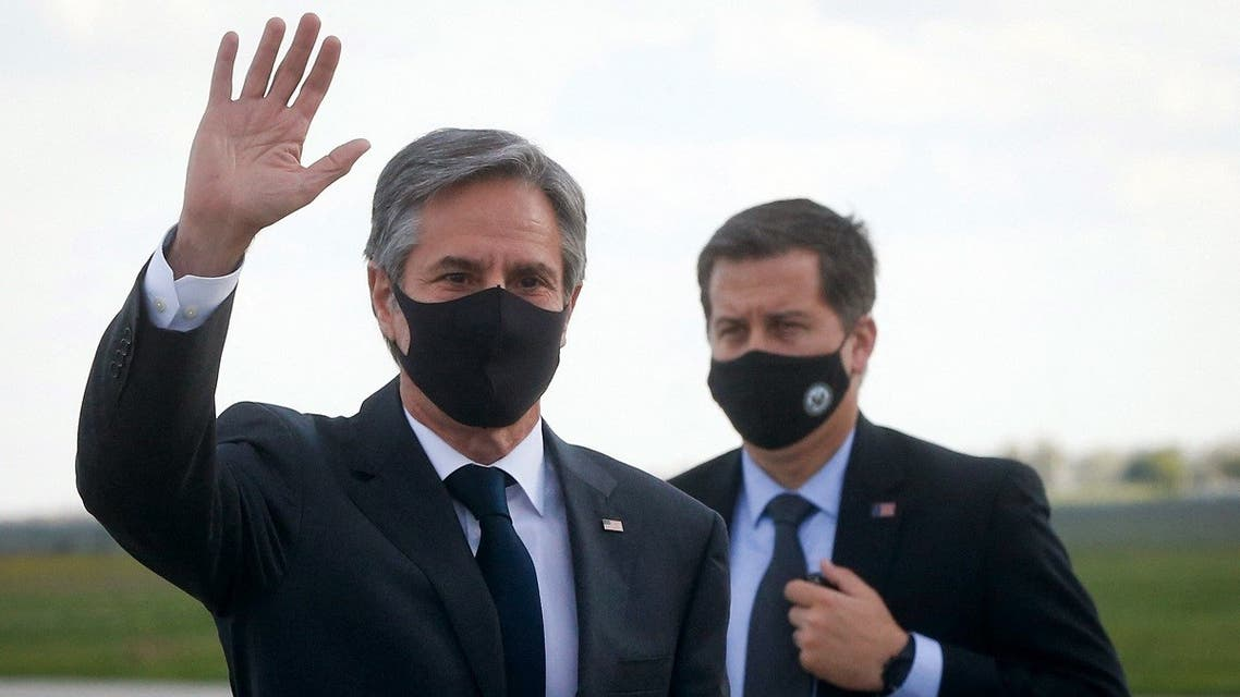 US Secretary of State Antony Blinken waves as he leaves after a diplomatic visit in Ukraine, at the Boryspil International airport, outside Kiev, on May 6, 2021. (Reuters)