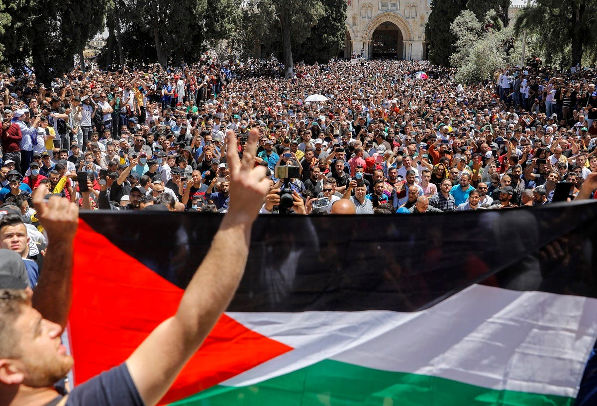 Al-Quds (Jerusalem) day, following the last Friday prayers of Ramadan, at the al-Aqsa mosque compound, on May 7, 2021. (AFP)