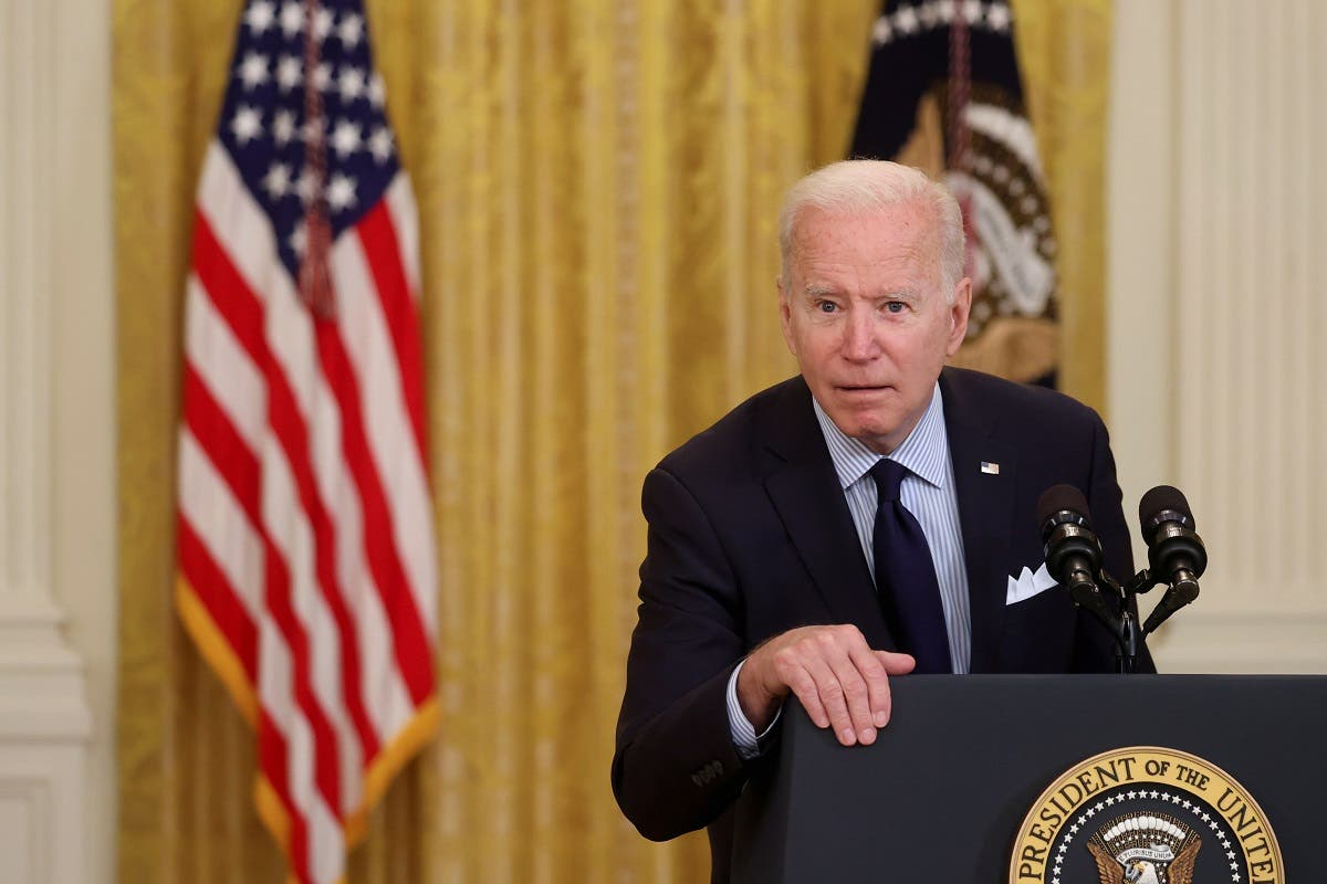 President Joe Biden gestures as he delivers remarks at the White House, May 7, 2021. (Reuters)