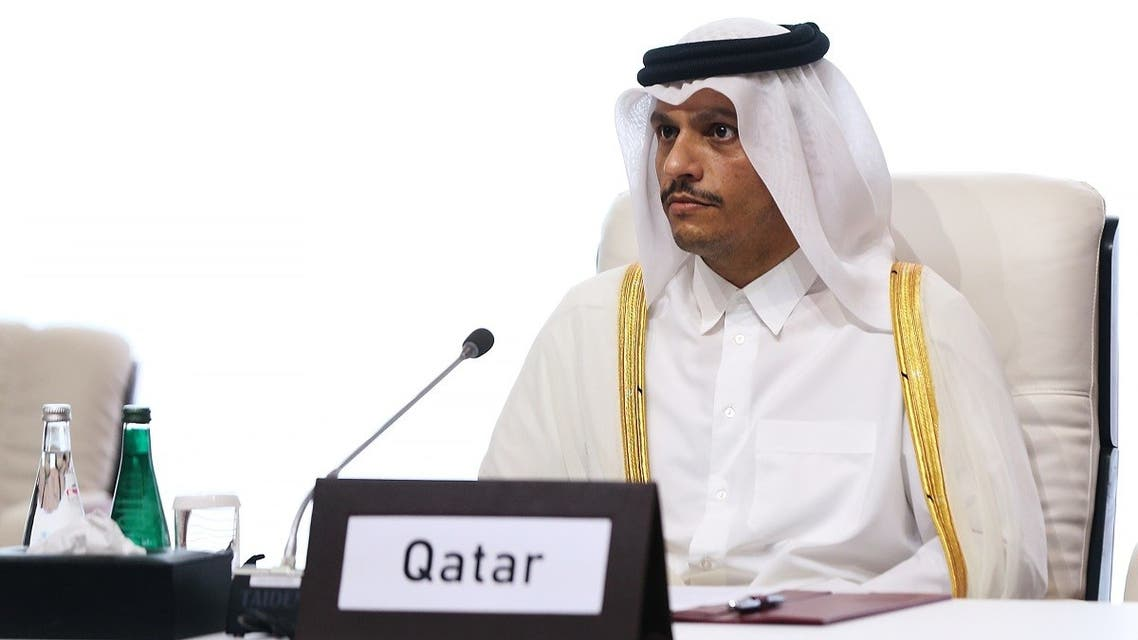 Qatari FM Sheikh Mohammed bin Abdulrahman al-Thani is seen during talks between the Afghan government and Taliban insurgents in Doha, Sept. 12, 2020. (Reuters)