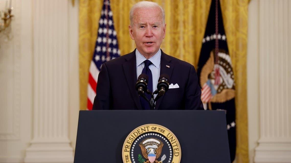 US President Joe Biden speaks at the White House, May 7, 2021. (Reuters)