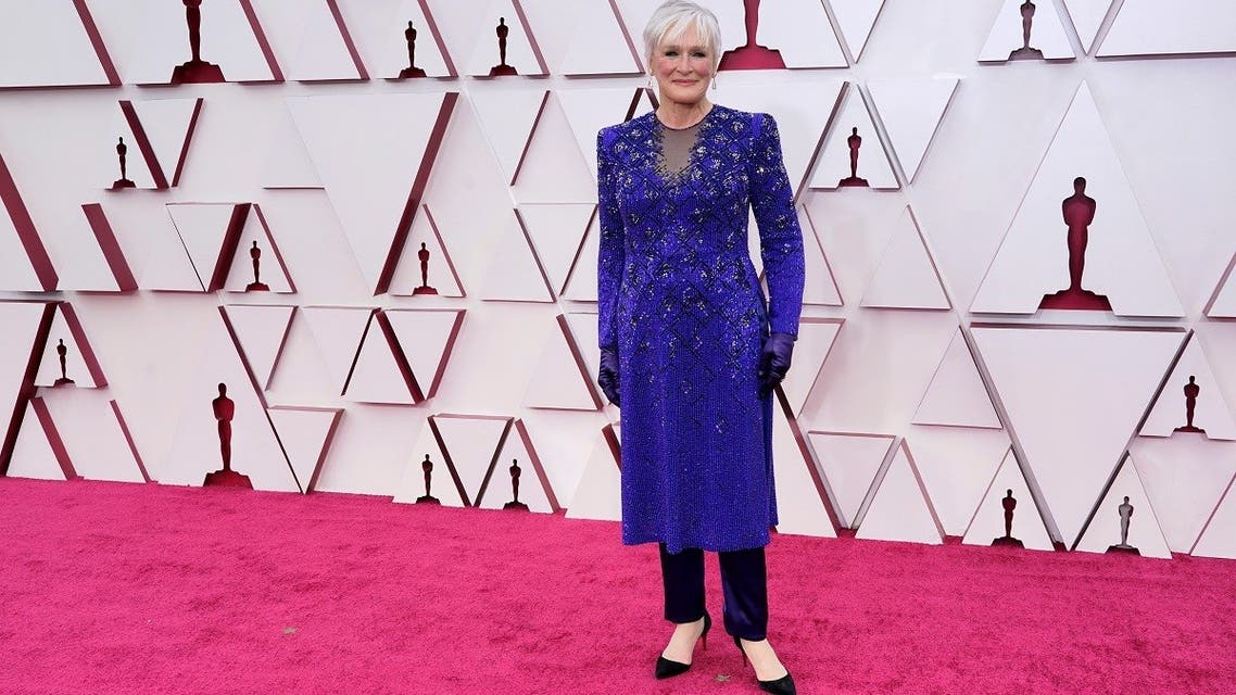 Glenn Close arrives to the 93rd Academy Awards, at Union Station, in Los Angeles, US, on April 25, 2021. (Reuters)
