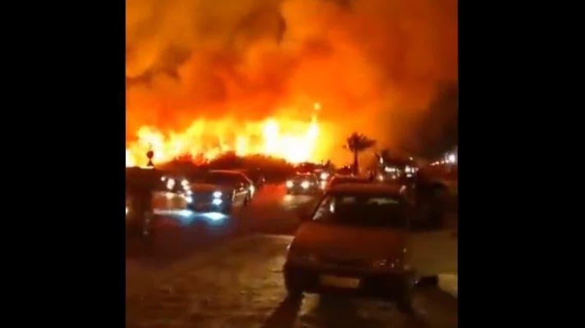 A massive fire broke out in Iran's southwestern city of Bushehr. (Screengrab: Twitter)