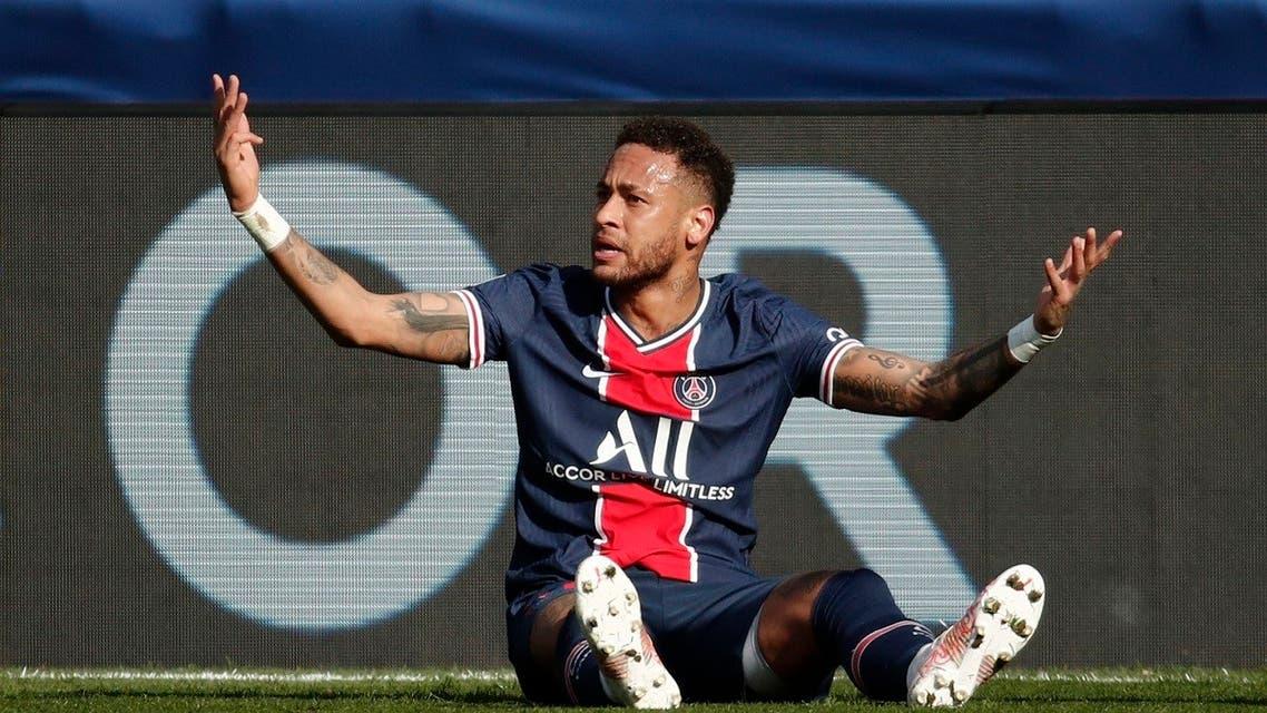 Paris St Germain's Neymar reacts during a match against Lille, at the Parc des Princes, April 3, 2021. (Reuters)