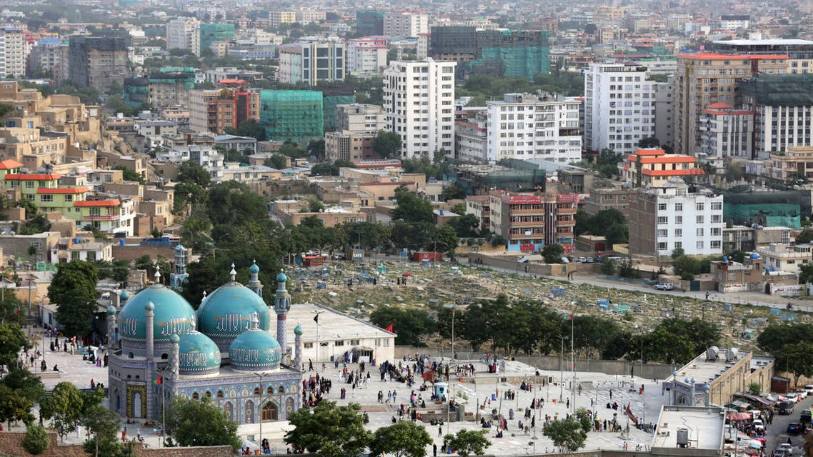 A general view from a hilltop shows the Sakhi Shrine and buildings in Kabul, Afghanistan June 21, 2019. Picture taken June 21, 2019. (Reuters)