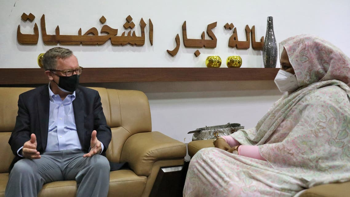 US Special Envoy for the Horn of Africa Jeffrey Feltman meets with Sudanese Foreign Minister Maryam al-Sadeq al-Mahdi in Khartoum on May 7, 2021. (AFP)