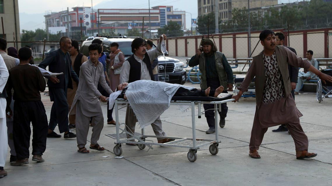 An injured school student is transported to a hospital after a bomb explosion near a school in west of Kabul, Afghanistan, Saturday, May 8, 2021. A bomb exploded near a school in west Kabul on Saturday, killing several people, many them young students, an Afghan government spokesmen said. (AP)