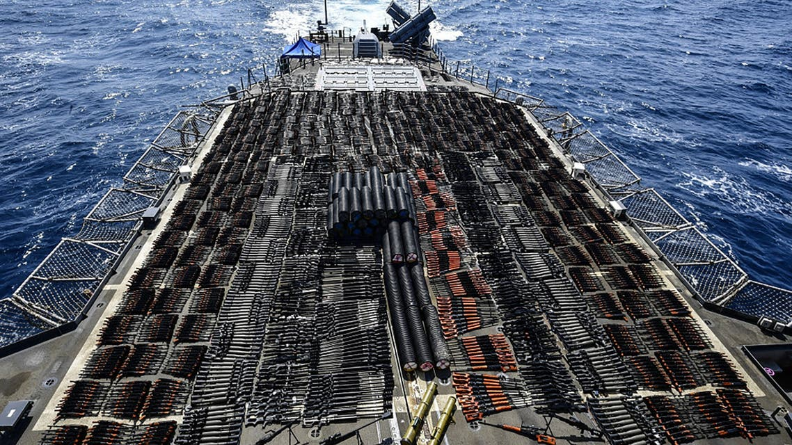 This handout photo courtesy of US Navy and made available on May 10, 2021, shows a vessel on which weapons were seized by the guided-missile cruiser USS Monterey in international waters of the North Arabian Sea. (AFP)