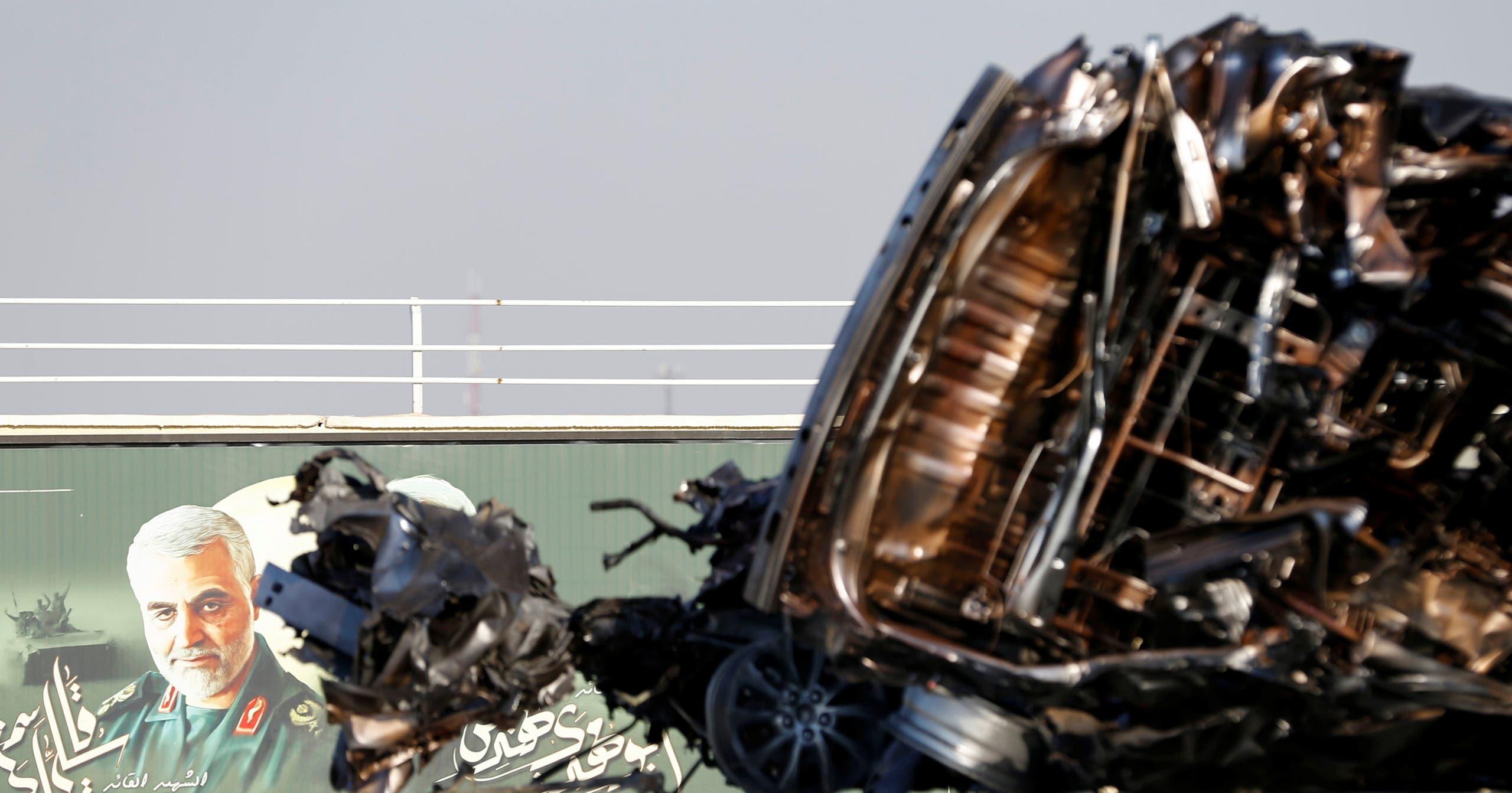 سيارة سليماني في محيط مطار بغداد (أرشيفية- فرانس برس)