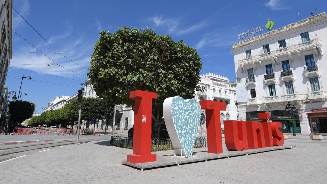 The center of Tunis is deserted, amid a general confinement imposed by the authorities in a bid to slow down a surge in coronavirus infections, on May 9, 2021. (Fethi Belaid/AFP)