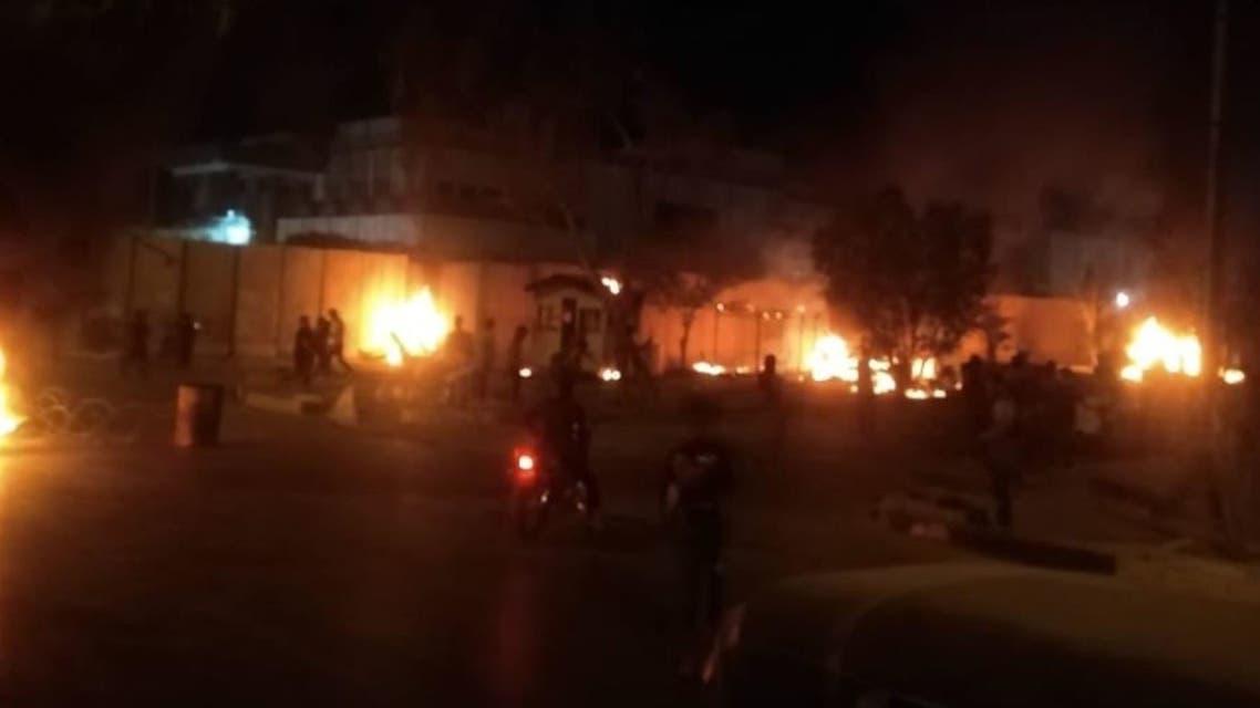 من الحريق أمام قنصلية إيران