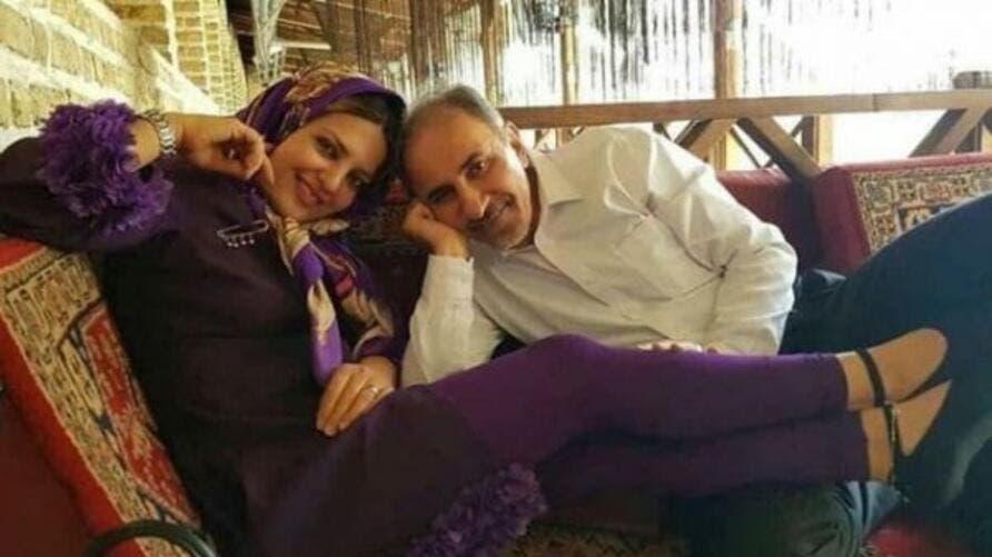محمد علي نجفي وزوجته الثانية ميترا أستاد