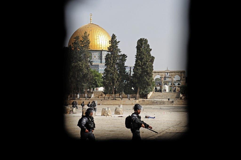 اعضای ارتش اسرائیل در نزدیکی مسجد الاقصی در بیت المقدس