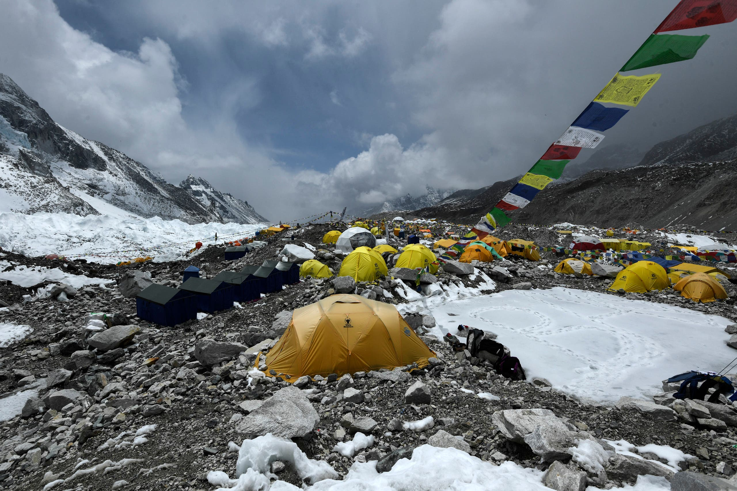 In this photograph taken on May 1, 2021, expedition tents are seen at Everest Base Camp in the Mount Everest region of Solukhumbu district, some 140 km northeast of Nepal's capital Kathmandu. (AFP)