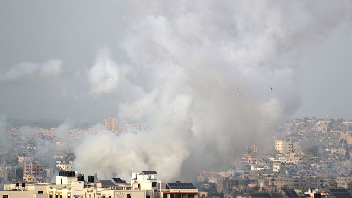 Smoke rises as rockets are launched by Palestinian militants into Israel, in Gaza on May 10, 2021. (Reuters)