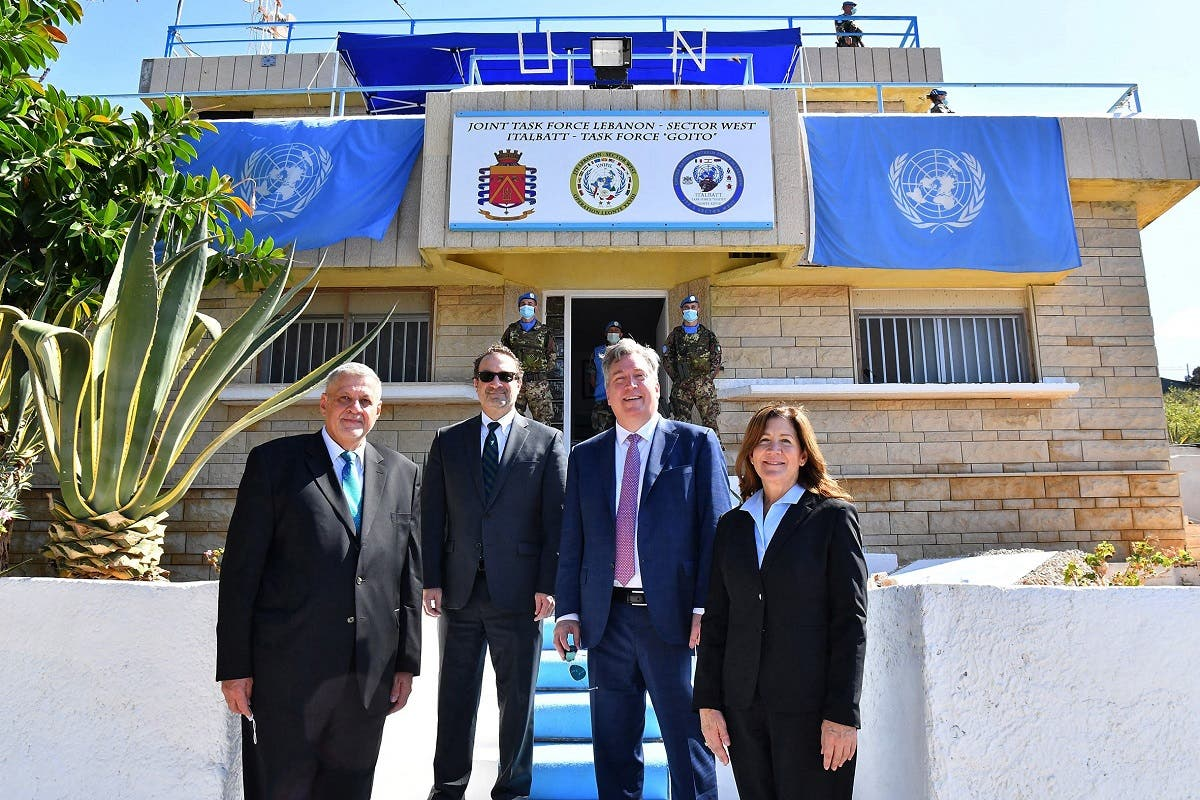 (L to R) UN Special Coordinator for Lebanon Jan Kubis, US Assistant Secretary David Schenker, US ambassador to Algeria John Desrocher, and US ambassador in Lebanon Dorothy Shea, Oct. 14, 2020. (File Photo: AFP)