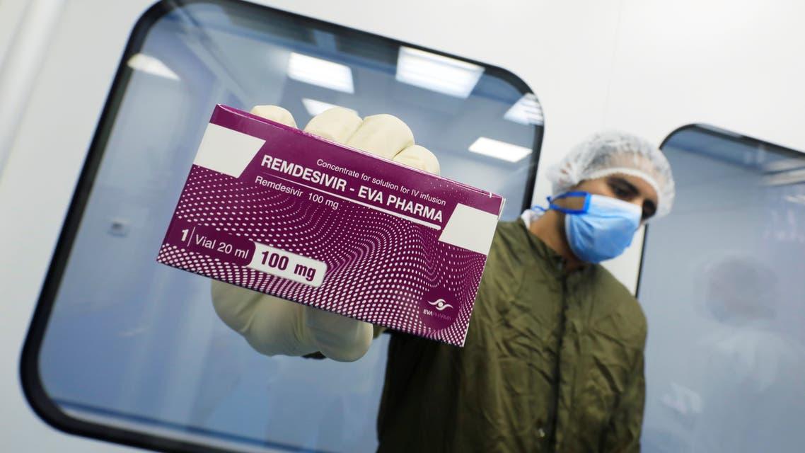 A lab technicians shows the coronavirus disease (COVID-19) treatment drug Remdesivir at Eva Pharma Facility in Cairo, Egypt June 25, 2020. (Reuters)