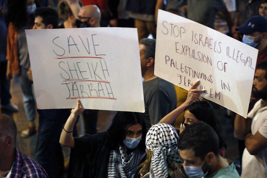 احتجاجات في حي الشيخ جراح (أرشيفية- فرنس برس)