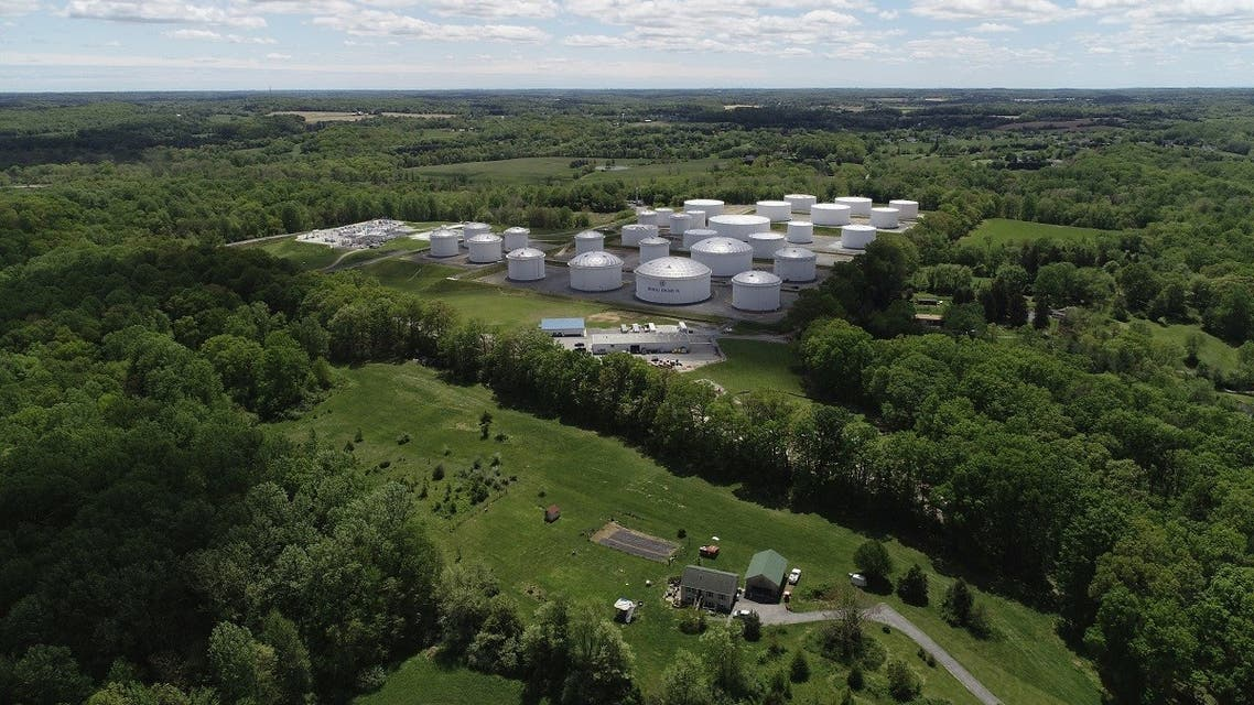 Holding tanks are seen in an aerial photograph at Colonial Pipeline's Dorsey Ju