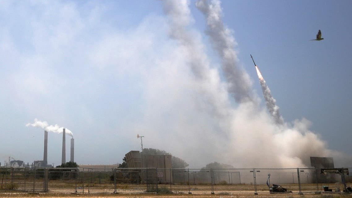 Israel's Iron Dome anti-missile system fires to intercept rockets launched from the Gaza Strip, as seen from Ashkelon, southern Israel, May 11, 2021. (Reuters/Nir Elias)
