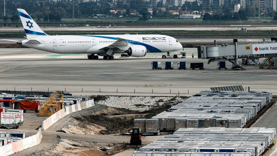 This photo taken on March 7, 2021 shows an Israeli airline El-Al plane taxying prior to taking off from Israel's Ben Gurion Airport near Tel Aviv. (Jack Guez/AFP)