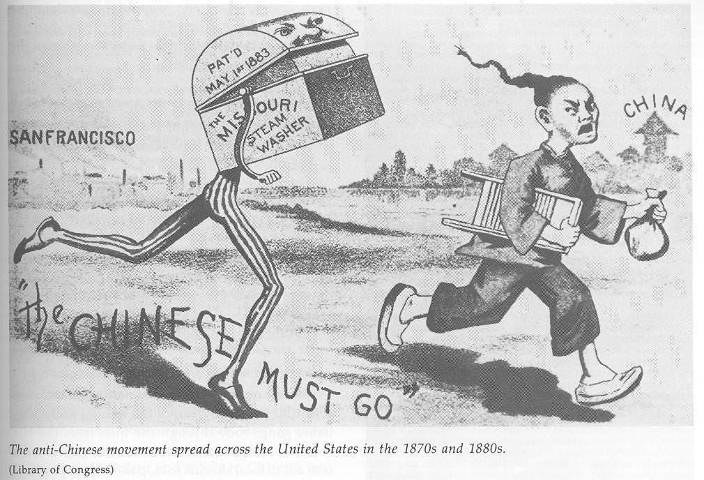 رسم كاريكاتيري ساخر حول طرد الصينيين من البلاد