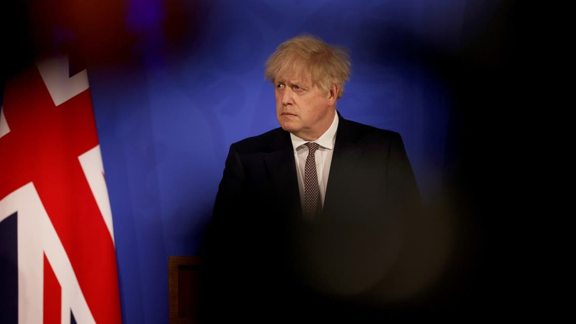 Britain's Prime Minister Boris Johnson attends a virtual news conference to announce changes to lockdown rules in England at Downing Street, in London, Britain May 10, 2021. Dan Kitwood/Pool via REUTERS