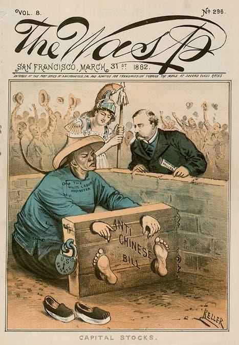 كاريكاتير ساخر حول القوانين التي قيدت حركة وهجرة الصينيين بأميركا