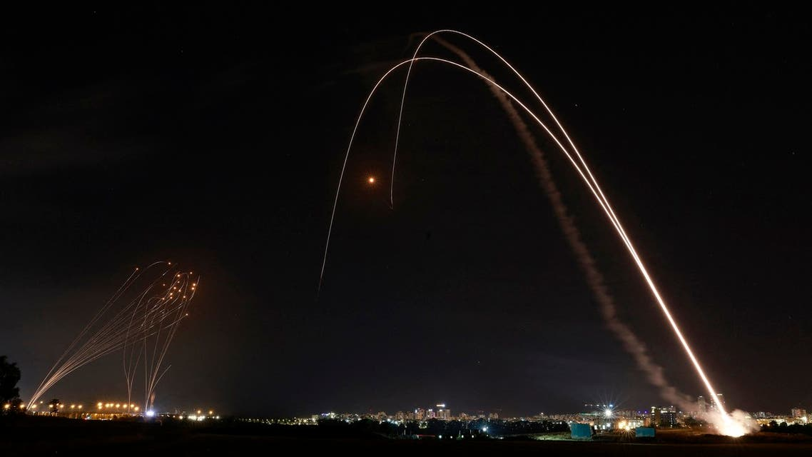 Israel's Iron Dome aerial defence system is launched to intercept a rocket launched from the Gaza Strip, controlled by the Palestinian Hamas movement, above the southern Israeli city of Ashdod, on May 11, 2021.