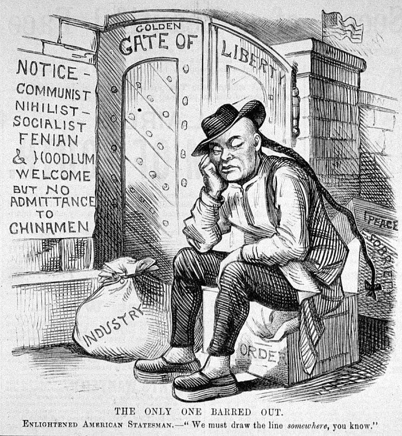 كاريكاتير ساخر حول تمرير قانون اقصاء الصينيين سنة 1882
