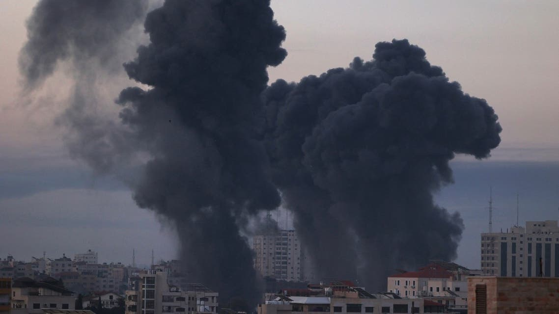 Smoke rises after an Israeli air strike in Gaza City near Barcelona Park and multiple government places, one of the biggest air strikes on the Gaza Strip, early on May 12, 2021. (File photo: AFP)