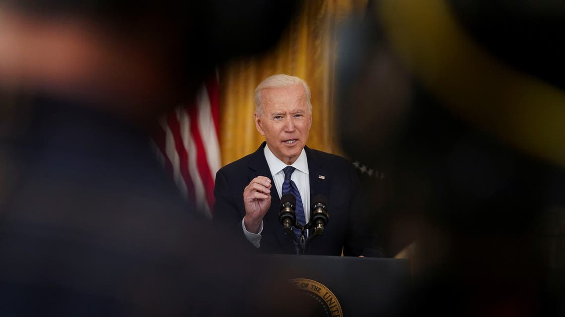 U.S. President Joe Biden delivers remarks on the U.S. economy as he faces reporters in the East Room at the White House in Washington, U.S., May 10, 2021. REUTERS/Kevin Lamarque