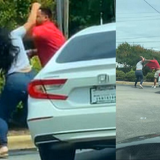 شاهد أميركية تتعارك بالأيدي مع رجل نافسته على الوقود