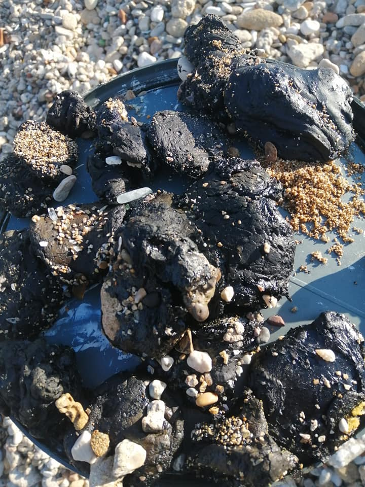 Tar balls washed up close to Tyre. (Image: Hessein Ghaddar)