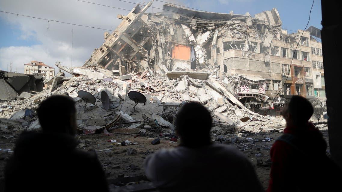 حطام مبنى في غزة دمره القصف الإسرائيلي الاخير