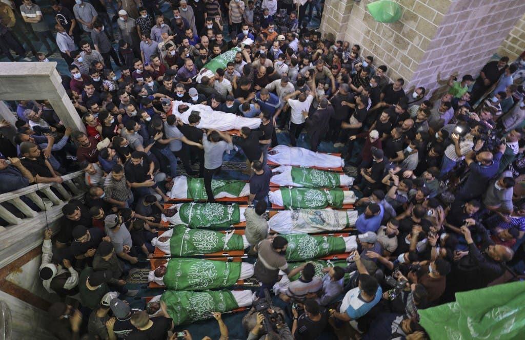 تشييع جثامين 13 فلسطينياً في غزة - فرانس برس